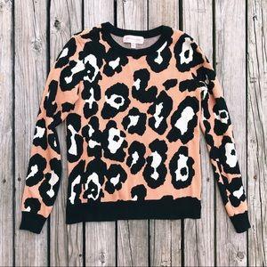 Cheetah Print Crew Neck Sweater